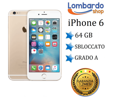 Apple Iphone 6 64GB grado A Oro Gold originale rigenerato ricondizionato