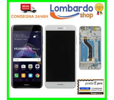 Display vetro lcd touch screen frame per HUAWEI P8 LITE 2017 BIANCO NERO PRA-LA1