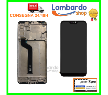 Lcd display touch screen vetro + frame per XIAOMI Mi A2 LITE REDMI 6 PRO NERO