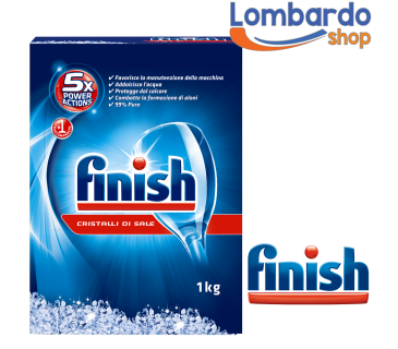Finish sale da 1Kg per lavastoviglie cristalli di sale anticalcare 5x Power Action