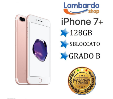 iPhone 7 Plus da 128GB grado B Rosa Gold Pink ricondizionato rigenerato originale Apple