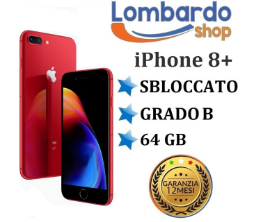 Apple Iphone 8 Plus GRADO B 64GB Rosso Red originale rigenerato ricondizionato