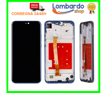 Touch screen lcd display frame assemblato per HUAWEI P20 LITE NERO BLU ANE-LX1