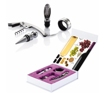 Cofanetto set vino sommelier con 4 accessori