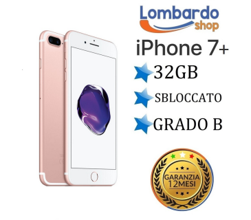 Apple Iphone 7 Plus 32GB grado B rosa Gold Pink originale rigenerato ricondizionato